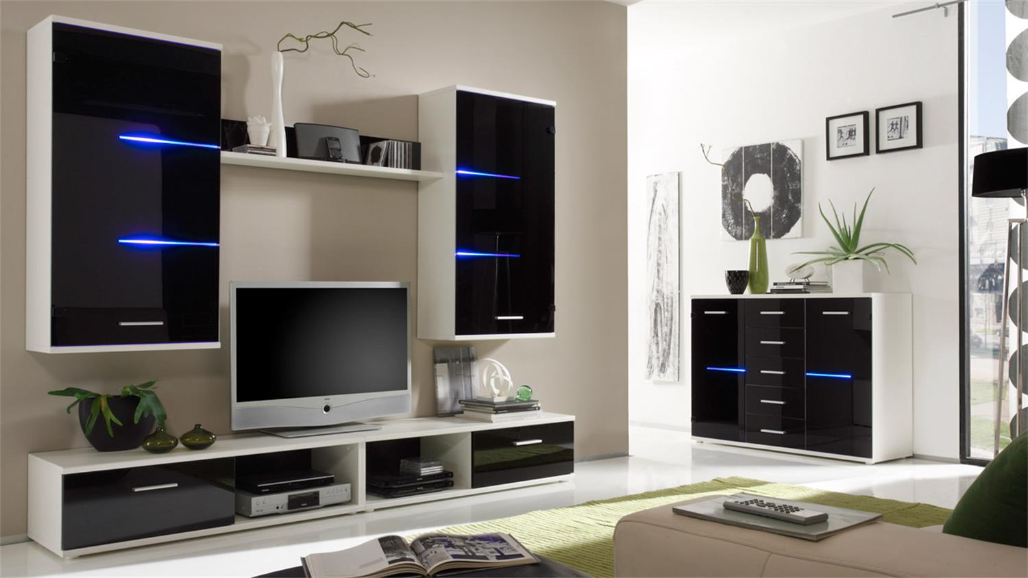 wohnwand black eagle schwarz und wei inkl led. Black Bedroom Furniture Sets. Home Design Ideas