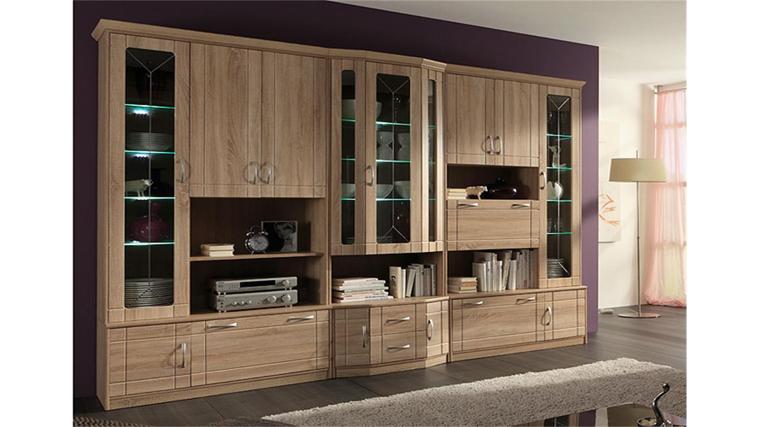 wohnwand village 2 sonoma eiche mdf inkl led. Black Bedroom Furniture Sets. Home Design Ideas