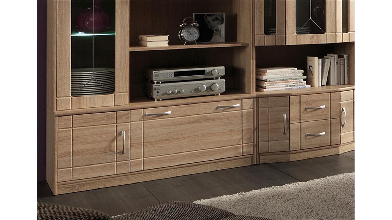 wohnwand village 2 sonoma eiche mdf inkl led. Black Bedroom Furniture Sets. Home Design Ideas