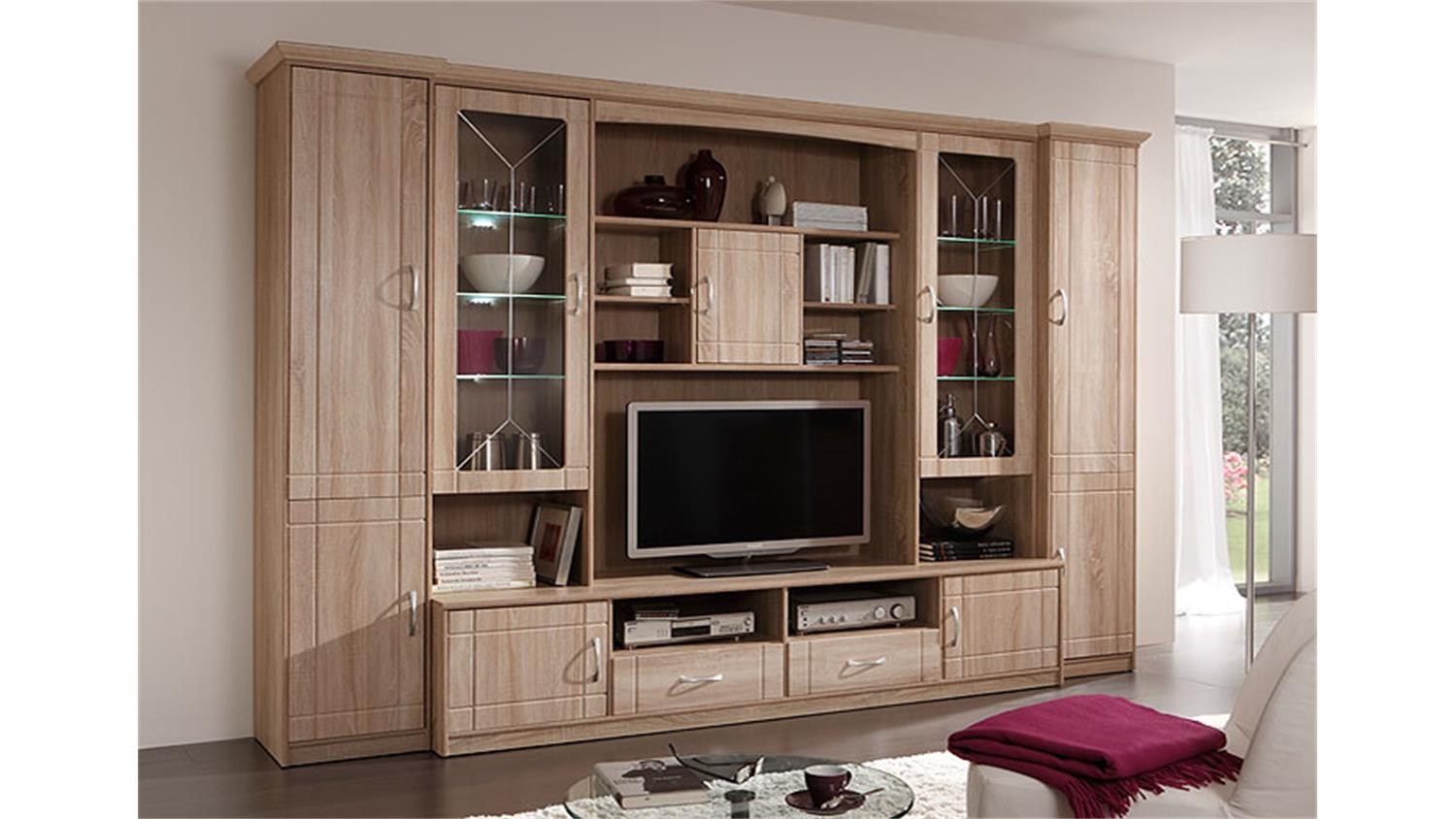wohnwand village 4 sonoma eiche mdf inkl led. Black Bedroom Furniture Sets. Home Design Ideas