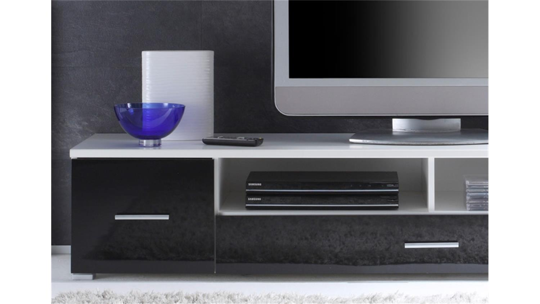 wohnwand nero wei schwarz glanz inkl beleuchtung. Black Bedroom Furniture Sets. Home Design Ideas