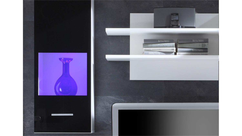 wohnwand wei schwarz glanz inkl beleuchtung. Black Bedroom Furniture Sets. Home Design Ideas