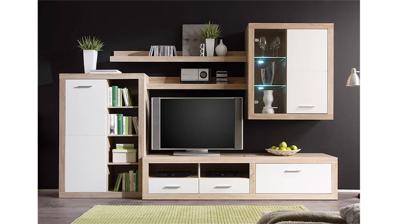 wohnwand cancan sonoma eiche wei hochglanz inkl led. Black Bedroom Furniture Sets. Home Design Ideas