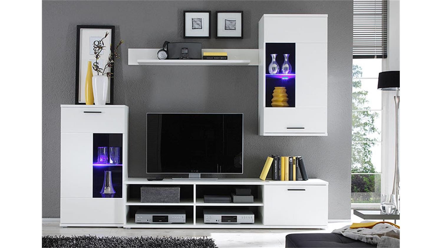wohnwand frontal anbauwand wohnzimmer in wei inkl led. Black Bedroom Furniture Sets. Home Design Ideas