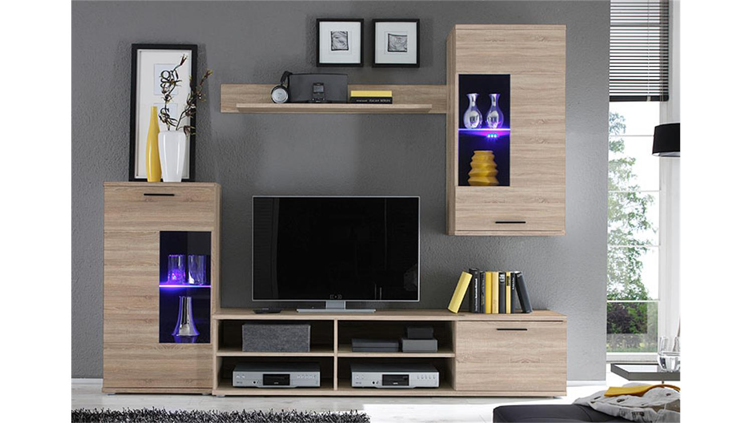wohnwand frontal in sonoma eiche dekor mit led beleuchtung. Black Bedroom Furniture Sets. Home Design Ideas