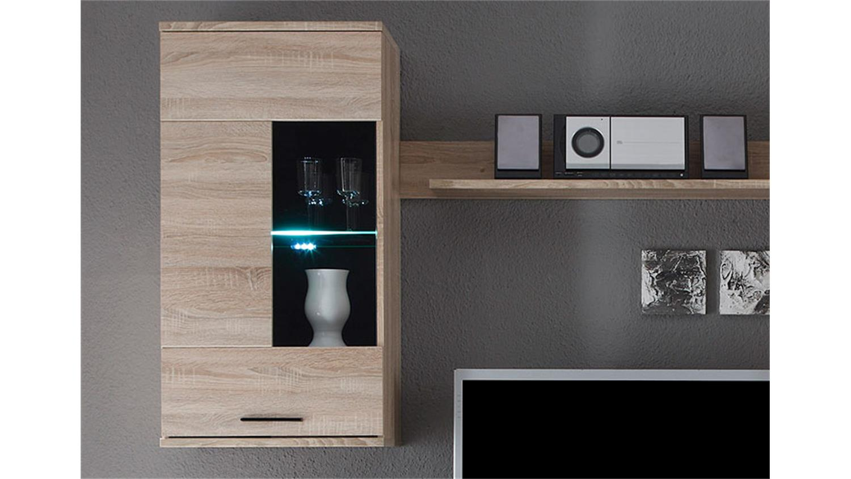 wohnwand frontal ii sonoma eiche inkl led. Black Bedroom Furniture Sets. Home Design Ideas