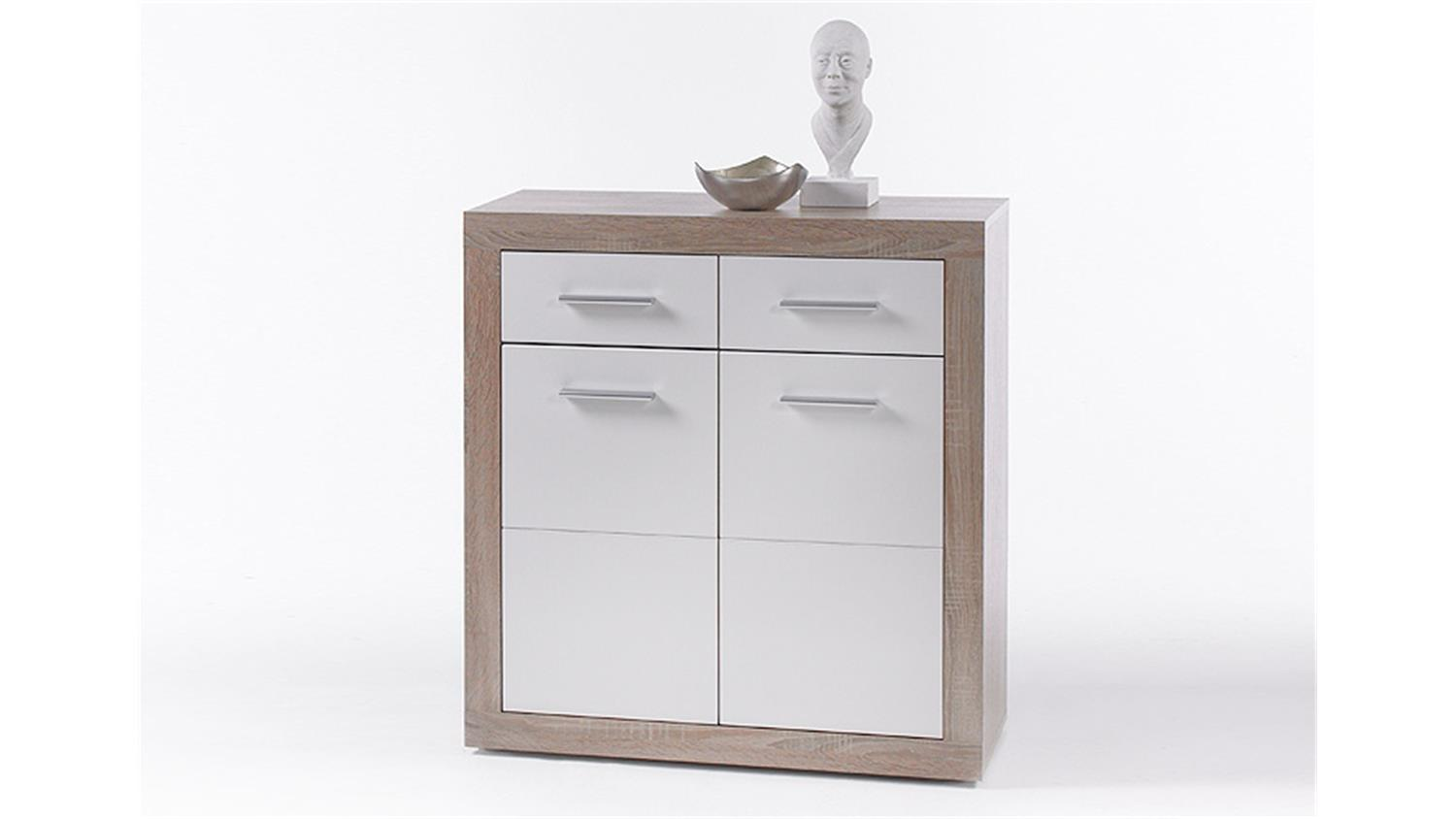 kommode cancan 1 sideboard highboard in wei sonoma eiche. Black Bedroom Furniture Sets. Home Design Ideas