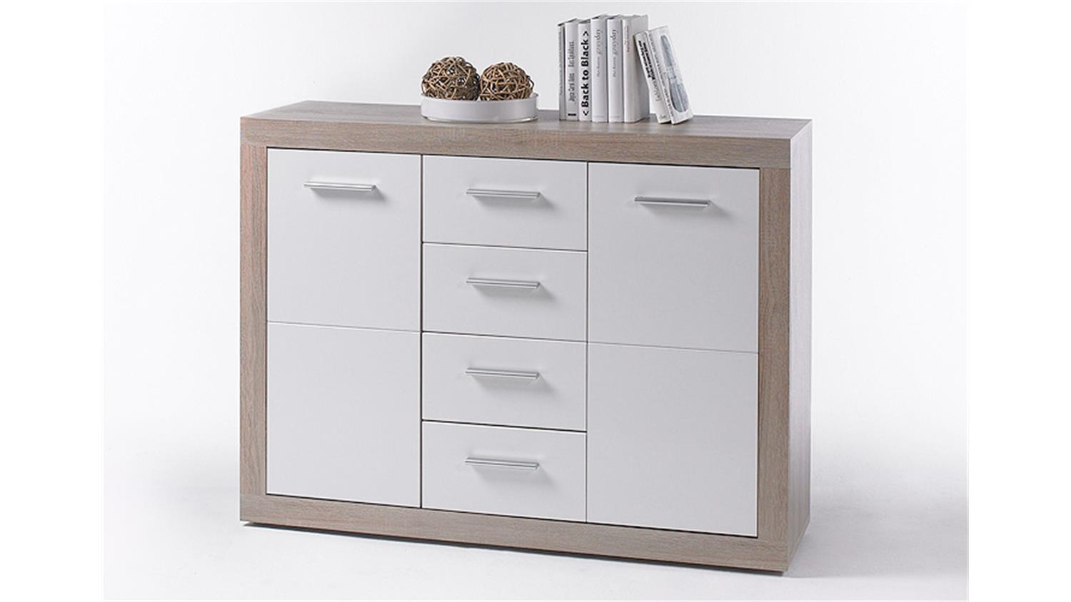 Kommode cancan 4 sideboard highboard in wei sonoma eiche for Kommode highboard weiss