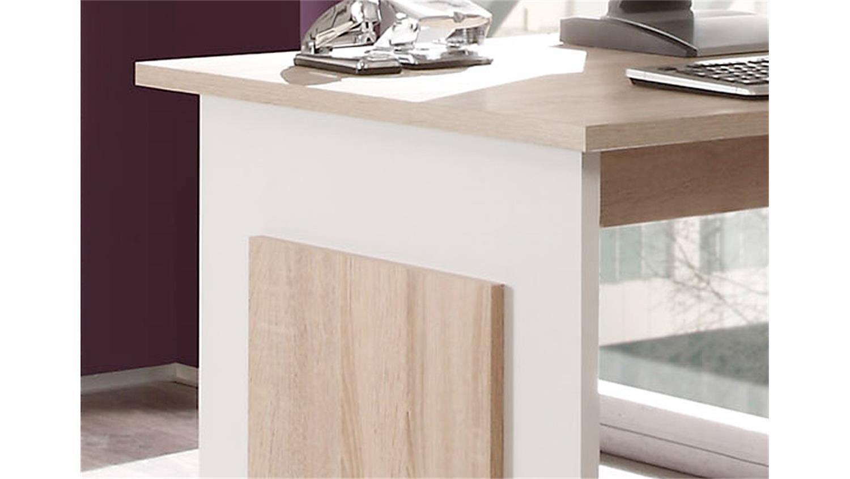 schreibtisch manager mit sideboard in sonoma eiche und wei. Black Bedroom Furniture Sets. Home Design Ideas