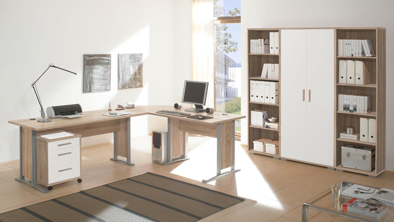 regalwand office line sonoma eiche und 2 türen weiß 10 regalfächer