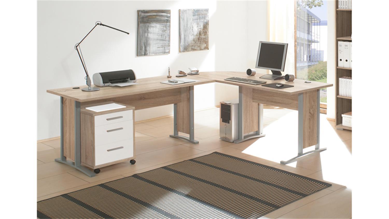 rollcontainer office line sonoma eiche 3 schubk sten wei. Black Bedroom Furniture Sets. Home Design Ideas