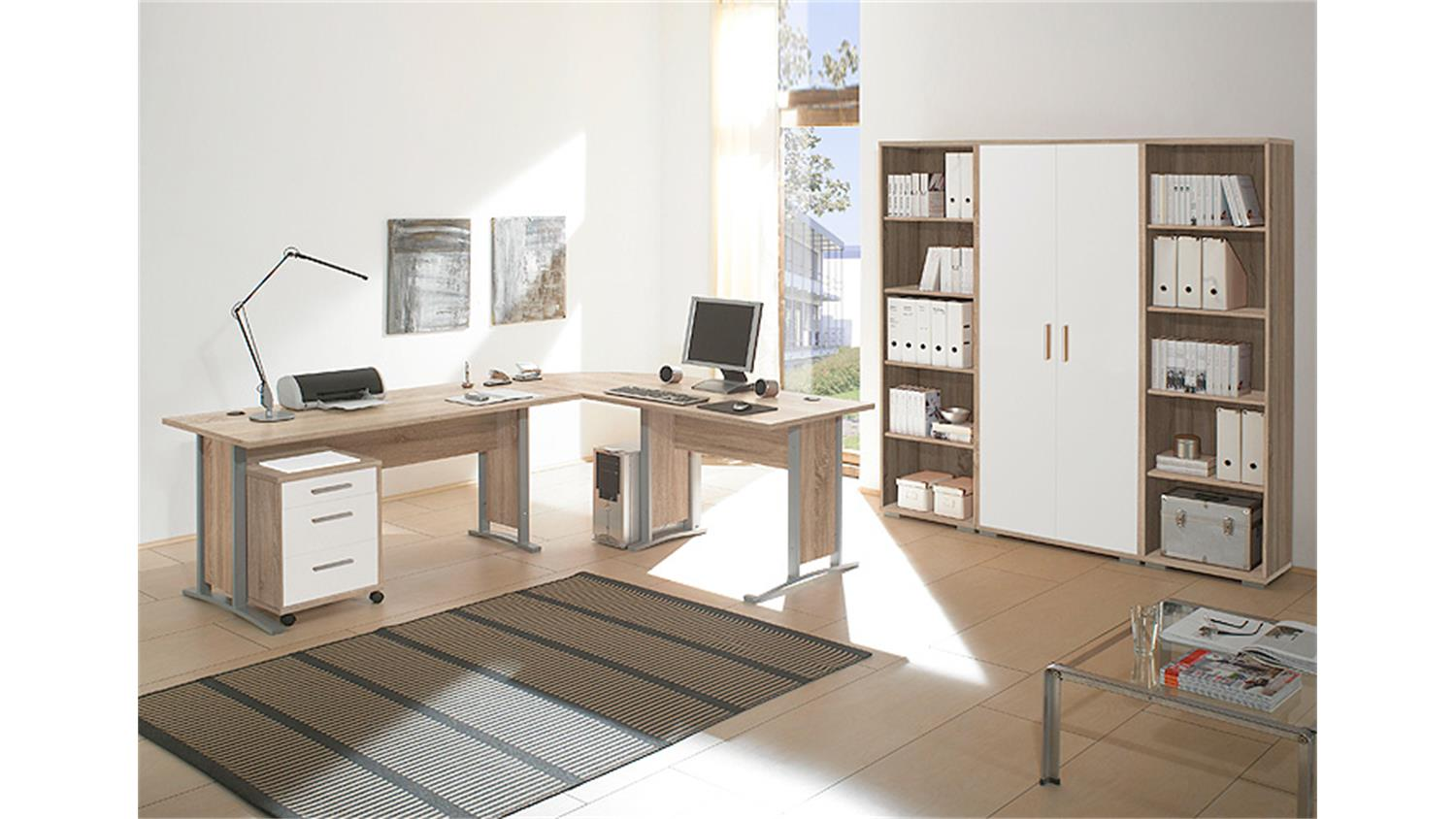 arbeitszimmer b ro office line sonoma eiche und wei. Black Bedroom Furniture Sets. Home Design Ideas