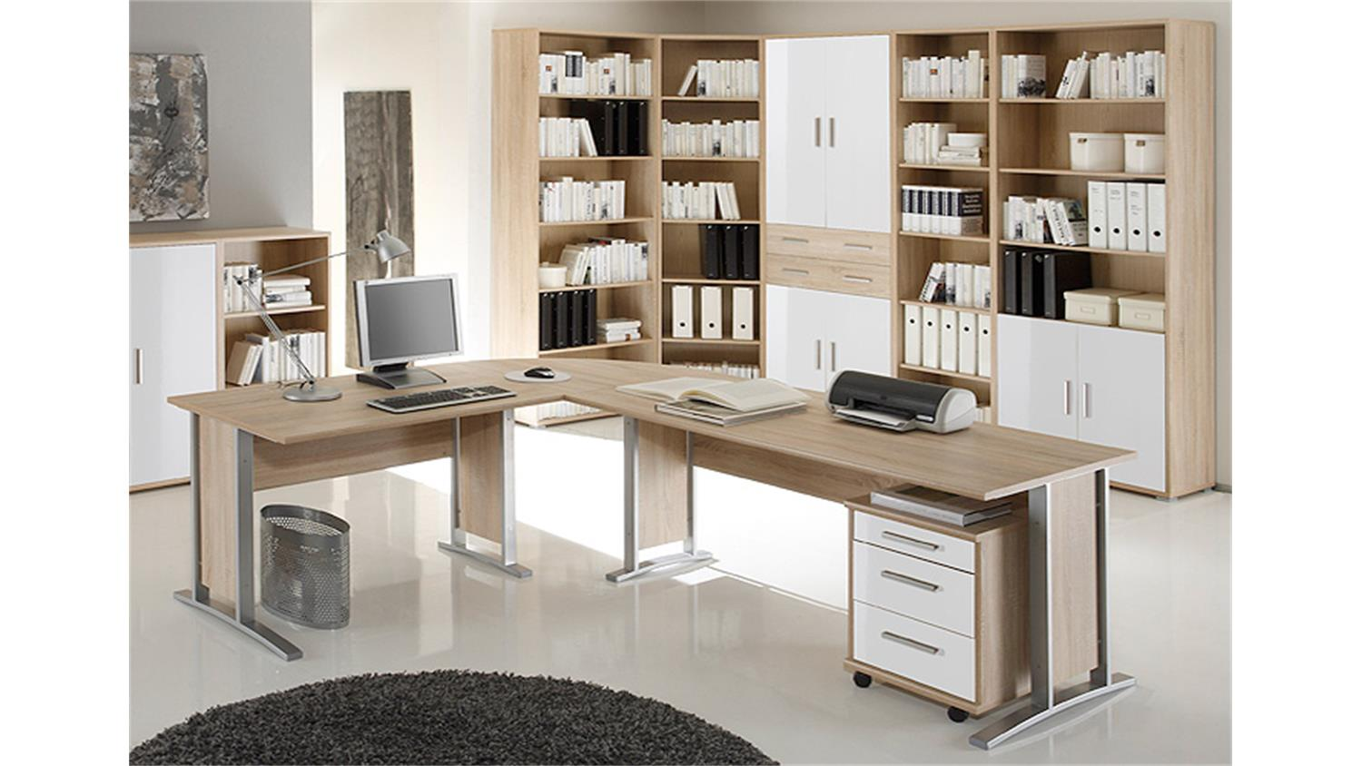 arbeitszimmer b ro set 2 office line sonoma eiche und wei. Black Bedroom Furniture Sets. Home Design Ideas