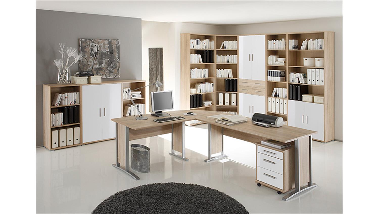 Büro Set Möbel : arbeitszimmer b ro set 2 office line sonoma eiche und wei ~ Indierocktalk.com Haus und Dekorationen