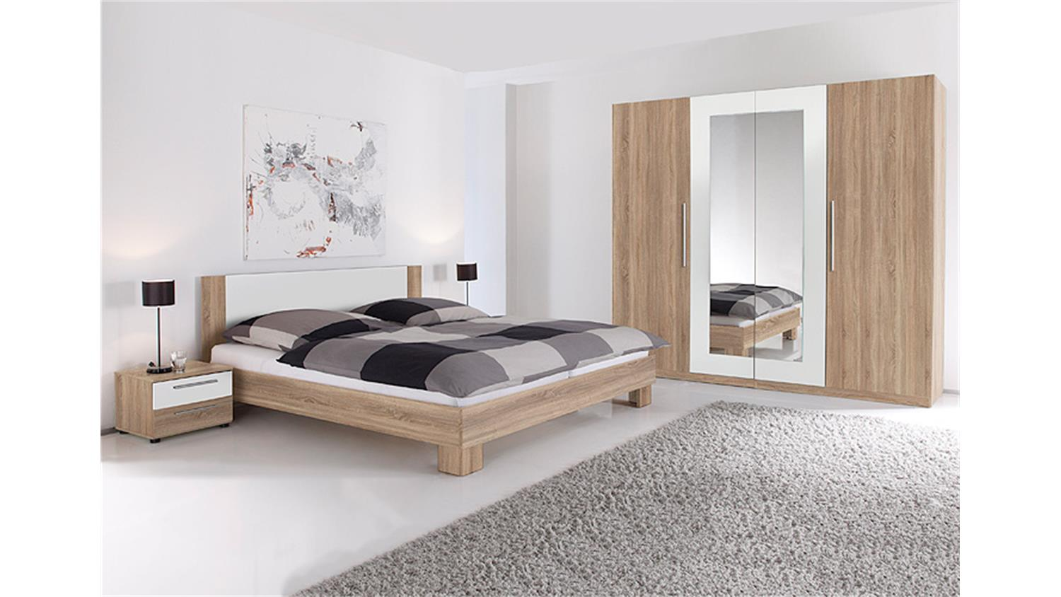 schlafzimmer set martina sonoma eiche s gerau und wei. Black Bedroom Furniture Sets. Home Design Ideas