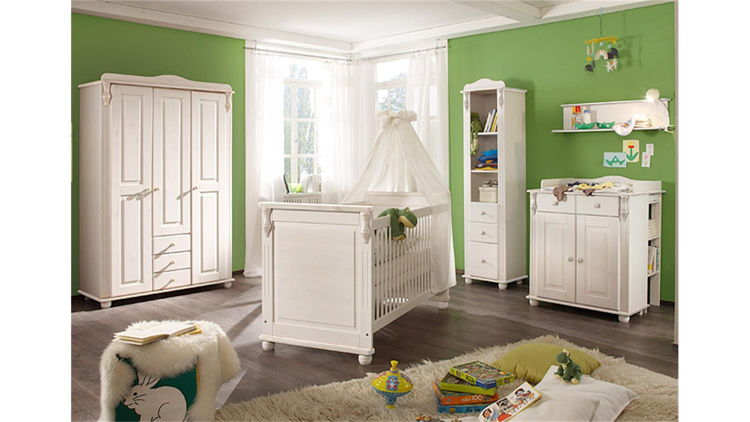 babyzimmer set lara ii kiefer massiv wei wachs 3 teilig. Black Bedroom Furniture Sets. Home Design Ideas