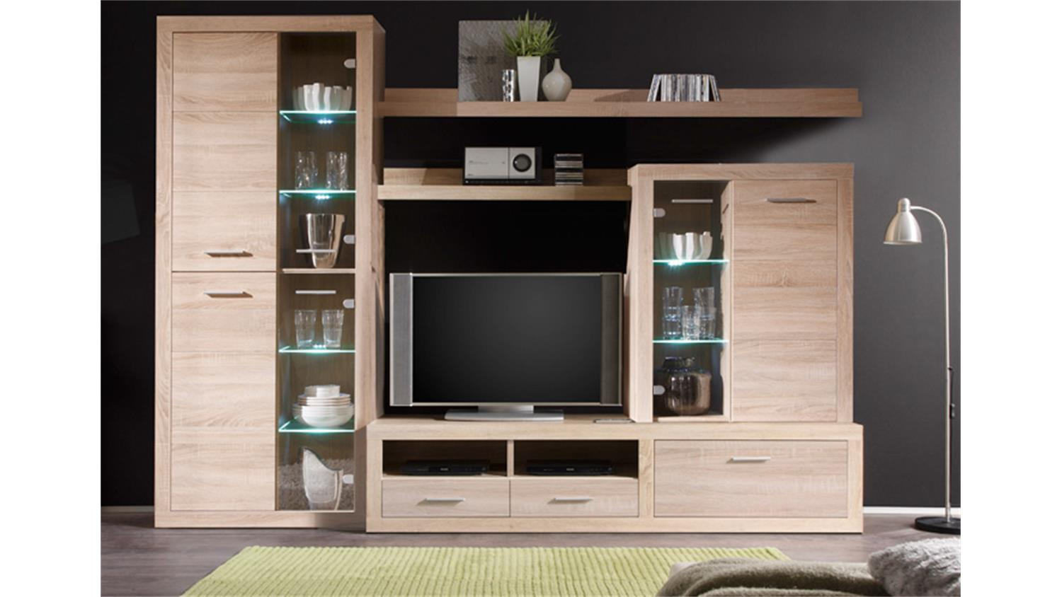 wohnwand can can 5 eiche sonoma mit led beleuchtung. Black Bedroom Furniture Sets. Home Design Ideas