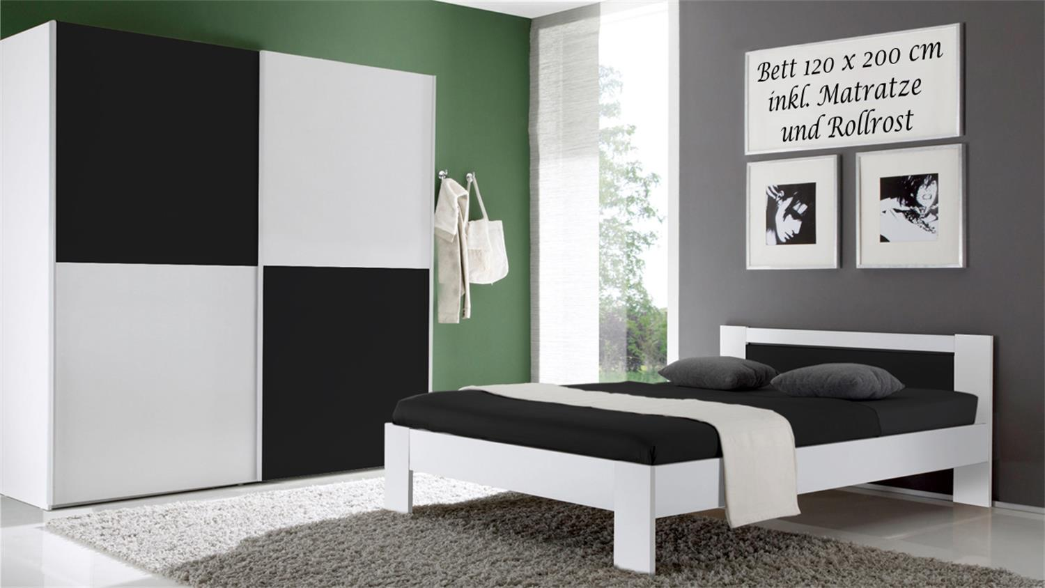 bett vega wei schwarz inkl rollrost und matratze 120x200. Black Bedroom Furniture Sets. Home Design Ideas