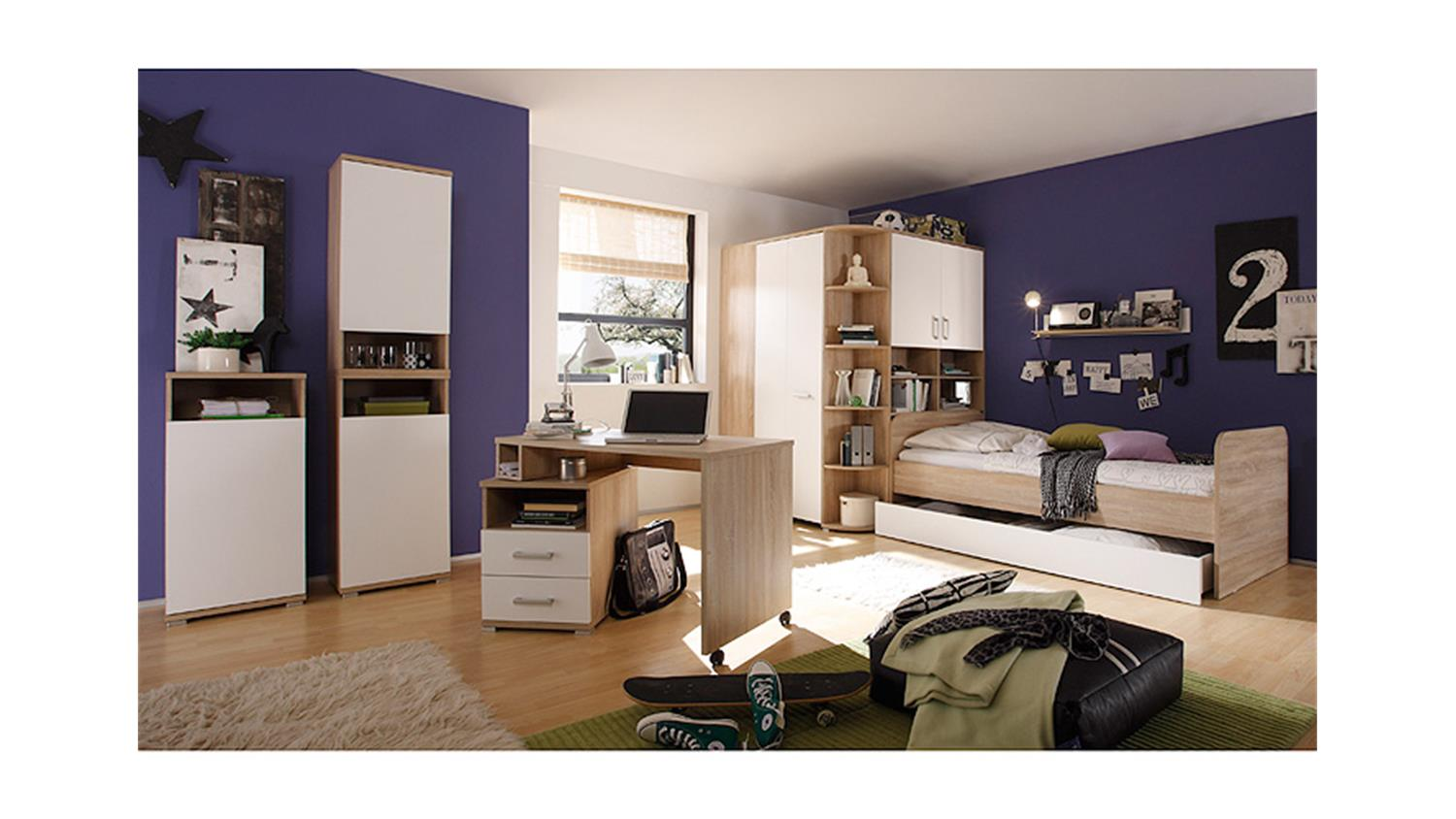 bett corner sonoma eiche wei inkl schubkasten. Black Bedroom Furniture Sets. Home Design Ideas