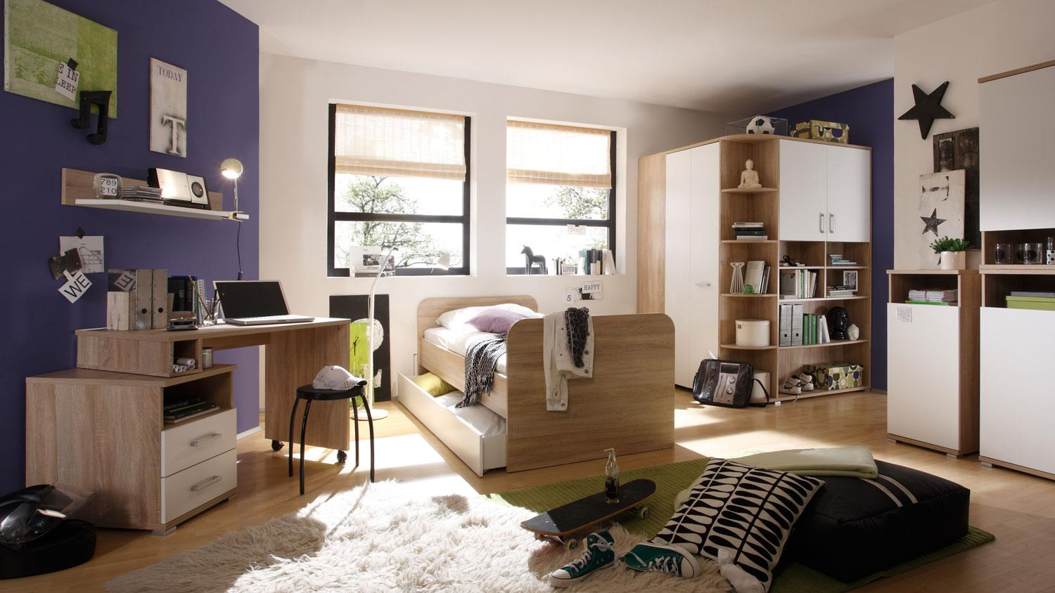 jugendzimmerset corner sonoma eiche wei 4 tlg. Black Bedroom Furniture Sets. Home Design Ideas