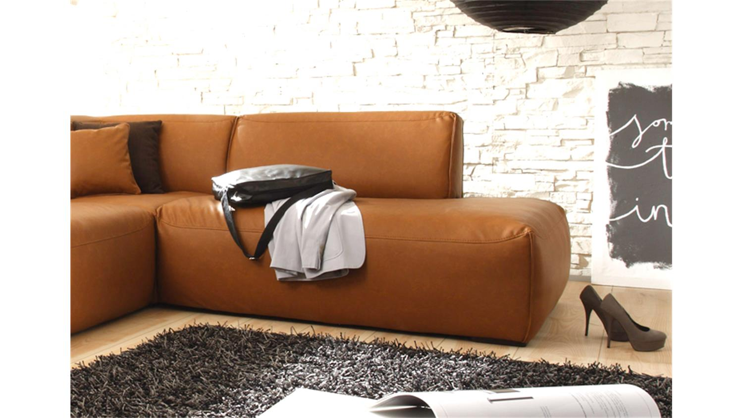 ecksofa mustang eckgarnitur sofa in cognac recamiere rechts. Black Bedroom Furniture Sets. Home Design Ideas
