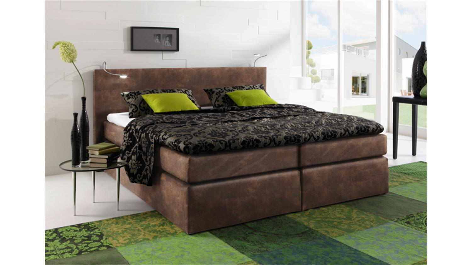 boxspring bett atlanta vintage braun 180x200 cm. Black Bedroom Furniture Sets. Home Design Ideas