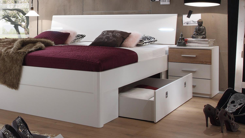 bettanlage mars bett nako wei sonoma eiche inkl led. Black Bedroom Furniture Sets. Home Design Ideas