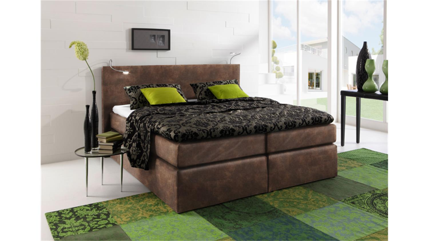 boxspringbett atlanta vintage braun 140x200 cm. Black Bedroom Furniture Sets. Home Design Ideas