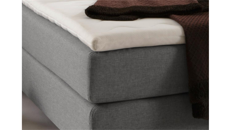 boxspring bett boston doppelbett in grau 140x200 cm. Black Bedroom Furniture Sets. Home Design Ideas