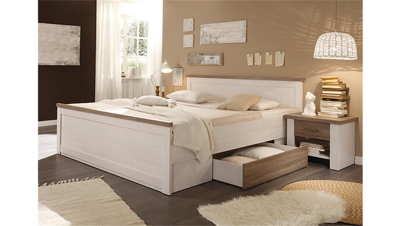 Bettanlage LUCA Pinie Weiß Trüffel 180x200 Inkl. Nakos