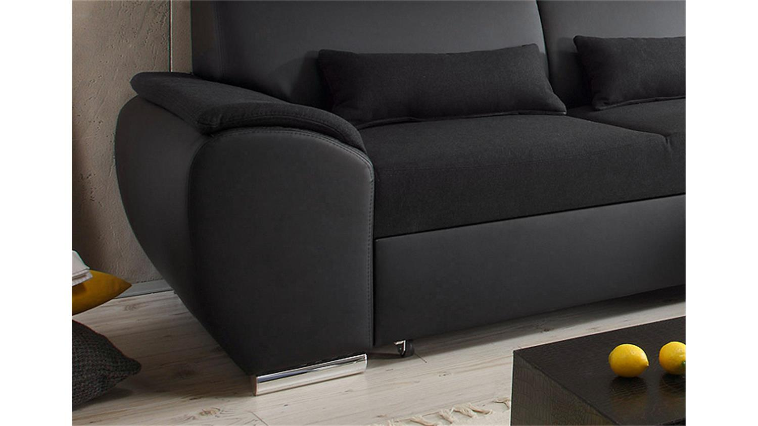 ecksofa antara schwarz schlaffunktion 173 x 277 cm rechts. Black Bedroom Furniture Sets. Home Design Ideas