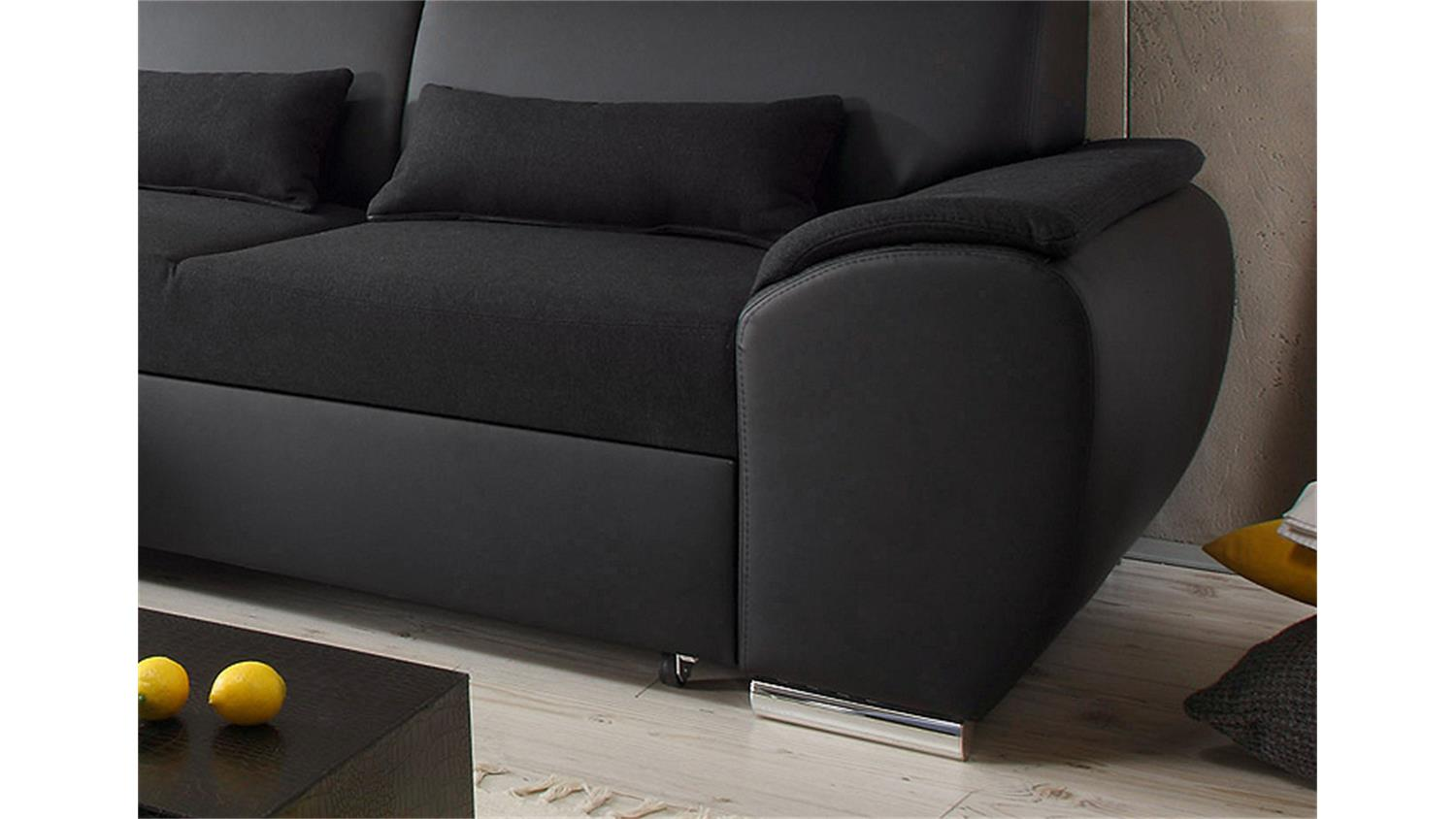 ecksofa antara schwarz schlaffunktion 173 x 277 cm links. Black Bedroom Furniture Sets. Home Design Ideas