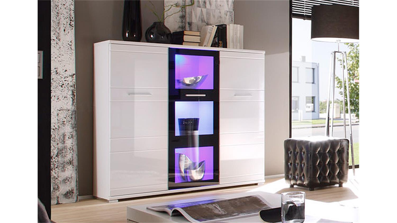 highboard ultra 1 in hochglanz wei und schwarz mit led. Black Bedroom Furniture Sets. Home Design Ideas