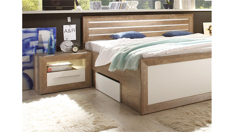 schlafzimmer fernando canyon oak wei led. Black Bedroom Furniture Sets. Home Design Ideas