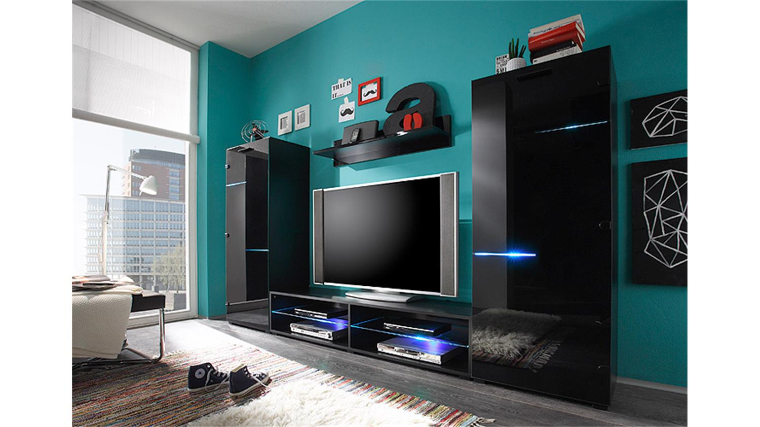 wohnwand media light schwarz mit rgb beleuchtung. Black Bedroom Furniture Sets. Home Design Ideas