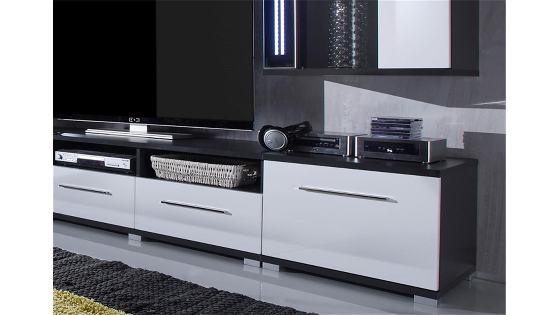 wohnwand mirror wei hochglanz und grau inkl led. Black Bedroom Furniture Sets. Home Design Ideas