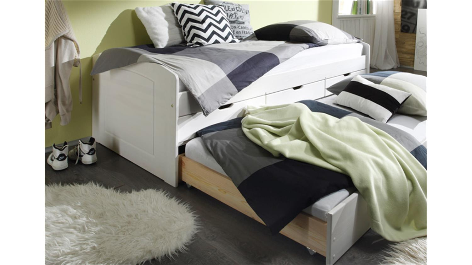 tandemliege jessy bett kinderbett in kiefer wei 90x200 cm. Black Bedroom Furniture Sets. Home Design Ideas