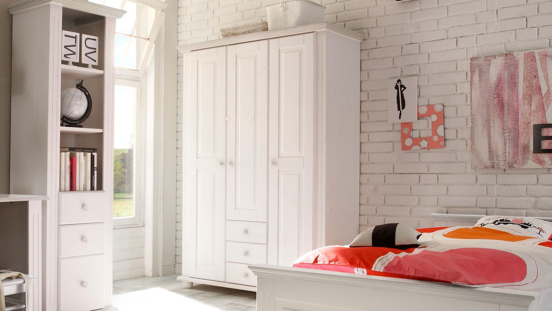 kleiderschrank kiefer massiv wei 3 t rig babyzimmer laura. Black Bedroom Furniture Sets. Home Design Ideas