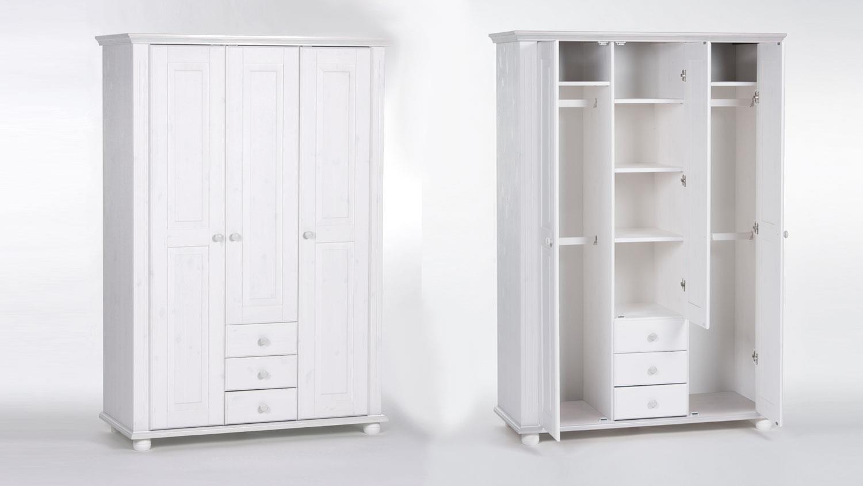 kleiderschrank babyzimmer laura kiefer massiv wei 3 t rig. Black Bedroom Furniture Sets. Home Design Ideas