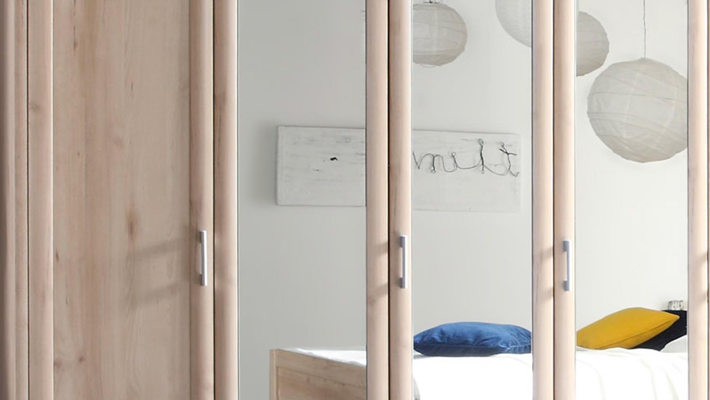 Kleiderschrank CLASSIC Drehtürenschrank 5-türig in Buche mit Spiegel
