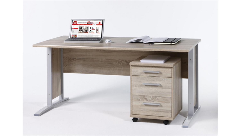 Schreibtisch Mit Bildergalerie : Schreibtisch mit rollcontainer office line sonoma eiche
