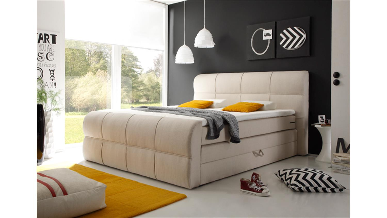 boxspring bett minnesota ivory 180x200 cm bettkasten. Black Bedroom Furniture Sets. Home Design Ideas