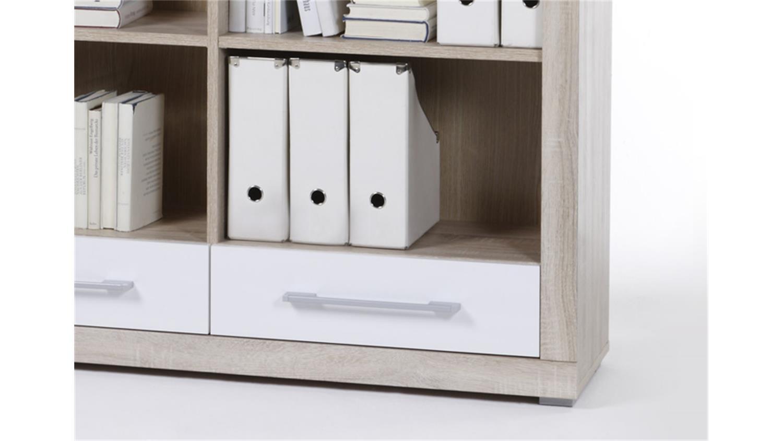 regal cube 4 wei und sonoma eiche dekor mit 2 schubk sten. Black Bedroom Furniture Sets. Home Design Ideas