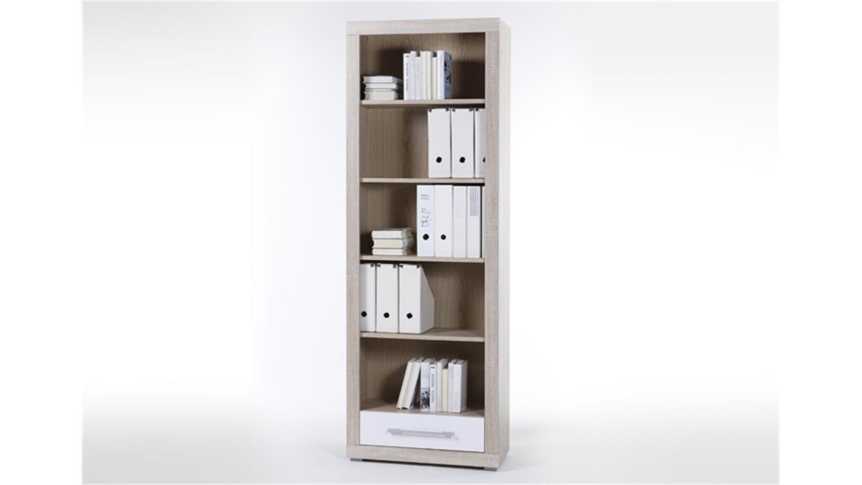 regal cube 5 in sonoma eiche mit wei em schubkasten. Black Bedroom Furniture Sets. Home Design Ideas