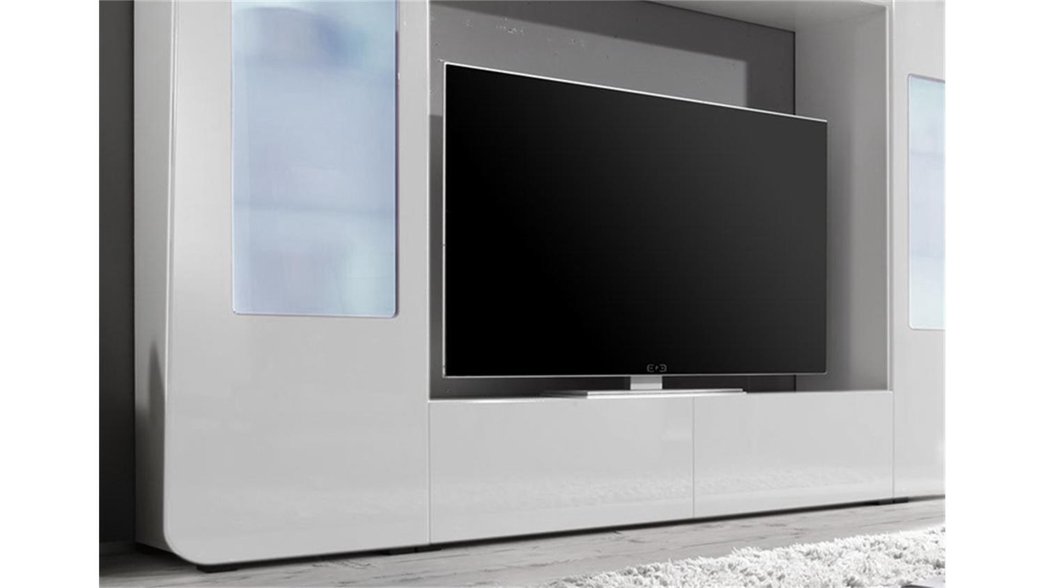 mediawand kino 2 tv wand anbauwand in wei hochglanz inkl led. Black Bedroom Furniture Sets. Home Design Ideas