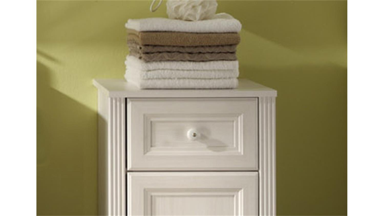 Badezimmerschränkchen  JASMIN Badezimmerschrank Lärche weiß mit Schubkasten
