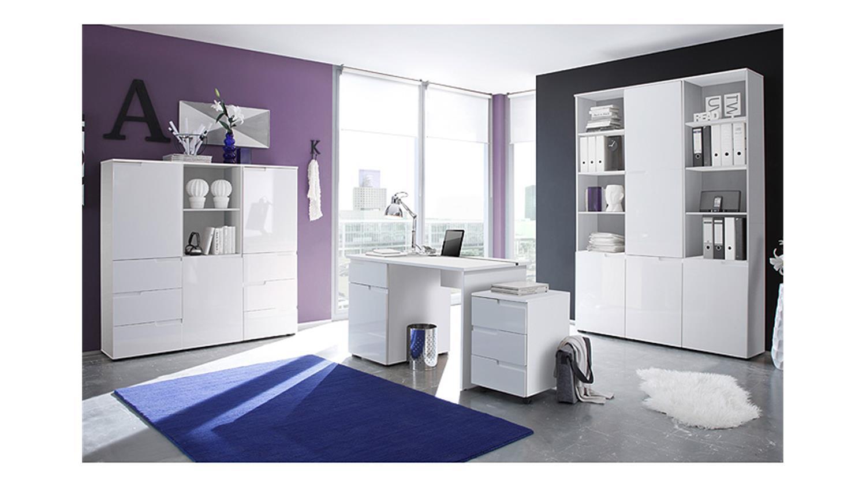 Büromöbel weiss hochglanz  Set SPICE Komplettset in MDF weiß Hochglanz