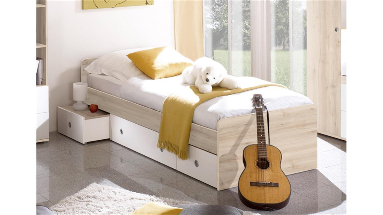 jugendbett wiki edelbuche und wei 90x200 3 schubk sten. Black Bedroom Furniture Sets. Home Design Ideas