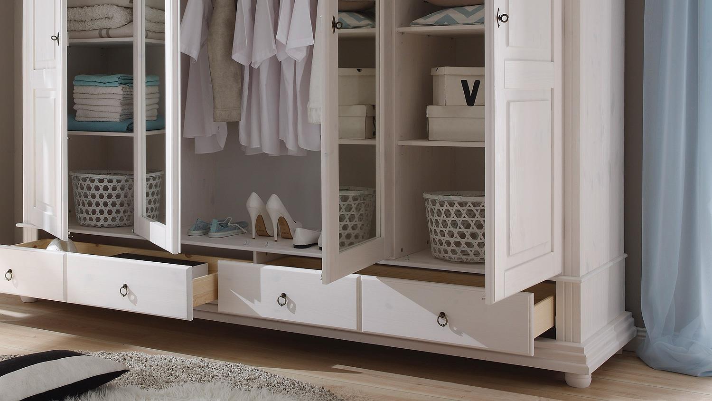 kleiderschrank oslo kiefer massiv wei mit spiegel 254 cm. Black Bedroom Furniture Sets. Home Design Ideas