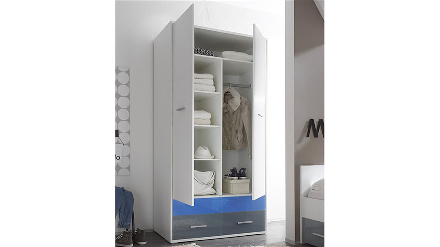 kleiderschrank wei und glas blau grau colori dreht renschrank 100 cm. Black Bedroom Furniture Sets. Home Design Ideas